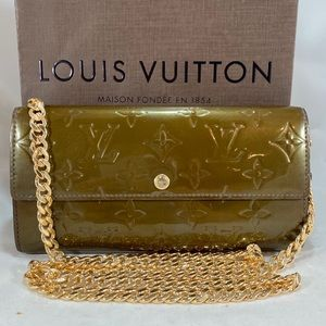 LOUIS VUITTON Vernis Leather Wallet on Chain